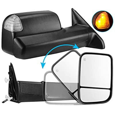 AUTOSAVER88 Towing Mirror Compatible with 2009-2020 Dodge Ram 1500 2500 3500 Pickup, Foldaway Power Heated LED Puddle Signals Tow Mirrors Pair Set with Ambient Temperatuer Sensor: Automotive