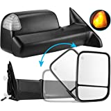 AUTOSAVER88 Towing Mirror Compatible with 2009-2017 Dodge Ram 1500 2500 3500 Pickup, Foldaway Power Heated LED Puddle Signals