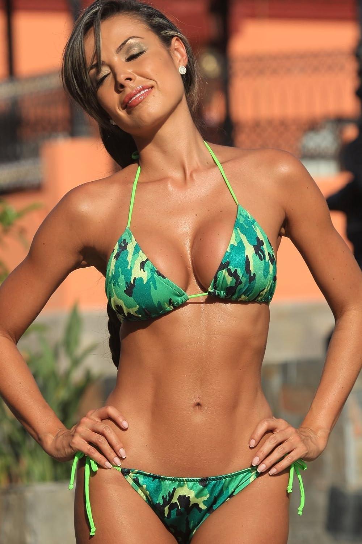 9436e8d50b9c9 Amazon.com  A229 Neon Camo Colombian Tie BOTTOM ONLY Size  1X bikini  bottom  Clothing
