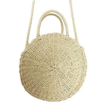 Ddreamon Women Woven Round Rattan Straw Bag Bohemian Beach Circle Bag  Circular Handbag Knitted Messenger Bags