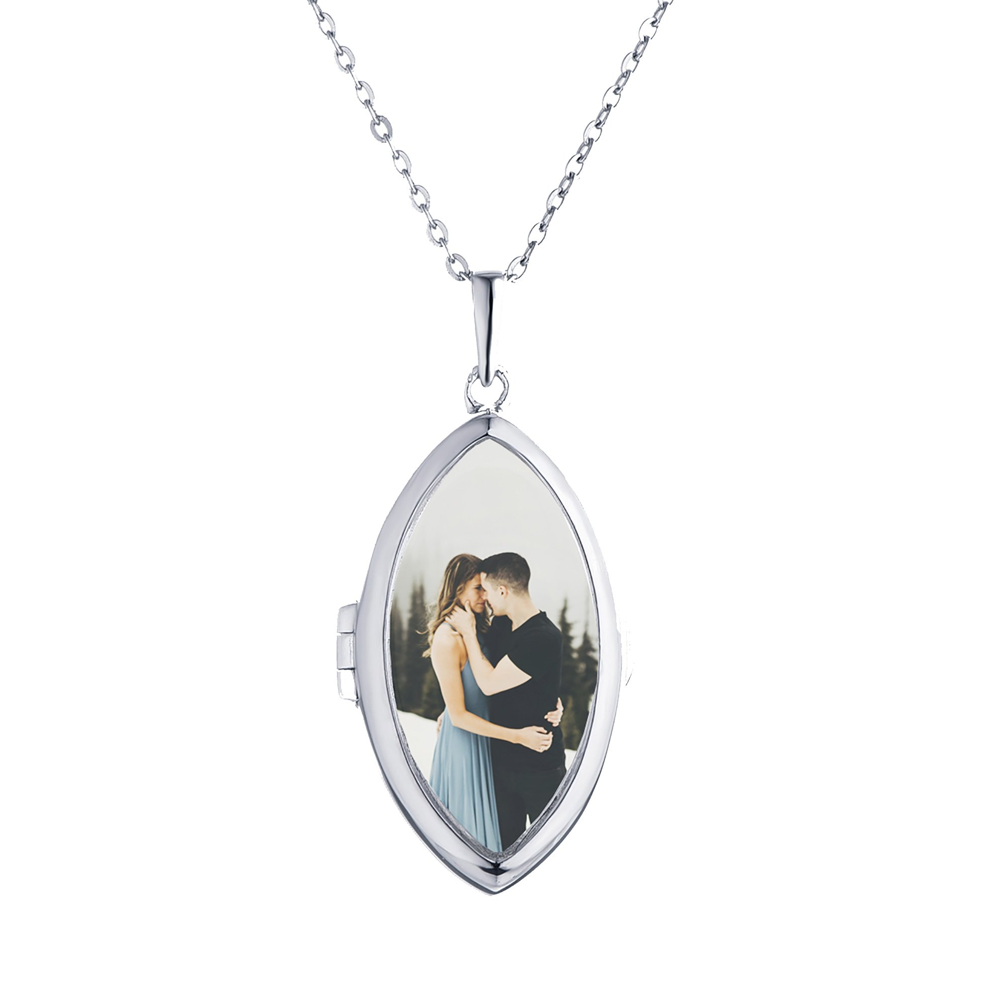 Sterling Silver-Glass-Custom Photo Locket Necklace-18-inch chain-The Dixie by With You Lockets