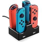 Nintendo Switch対応 ジョイコン Joy-Con充電スタンド 4台同時充電可能 コントローラー充電器 急速充電 充電指示ランプ付き 2USBポート 充電ステーション 携帯便利