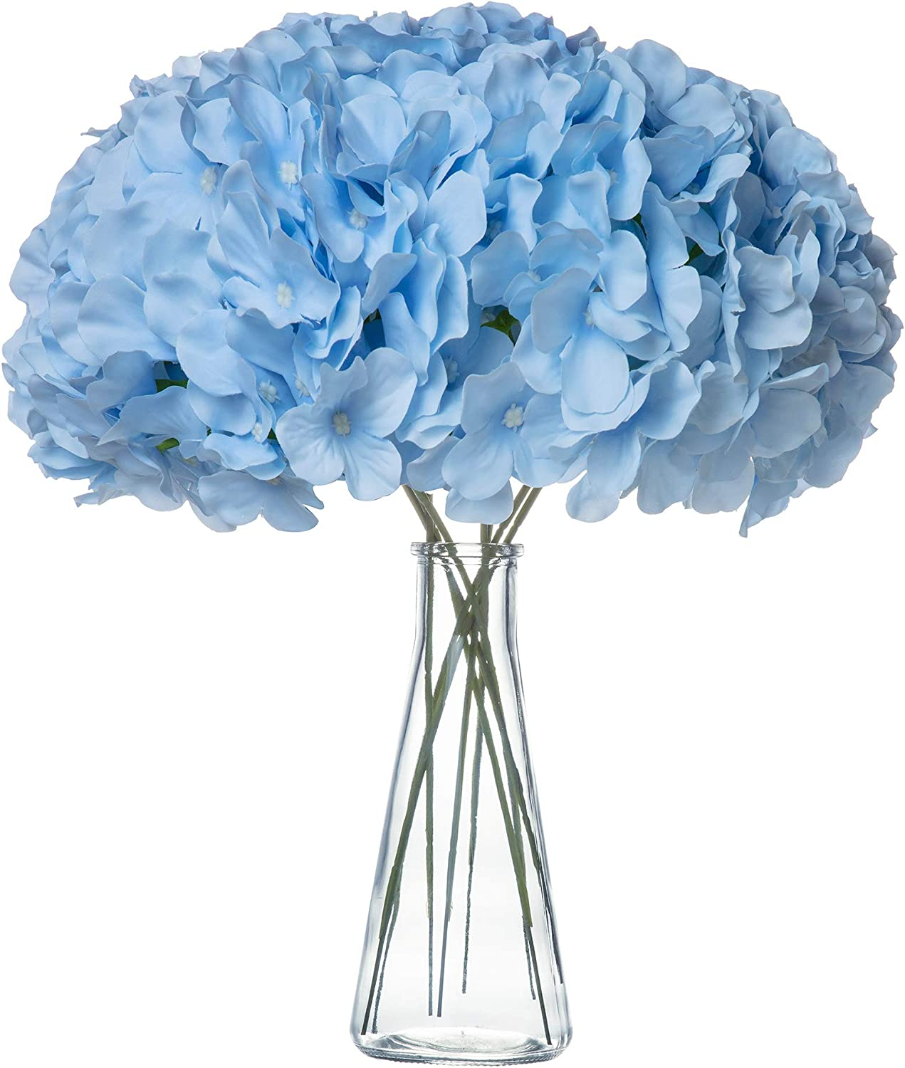 VARWANEO Sky Blue Hydrangea Silk Fake Flowers Heads with Stems, Artificial Flowers for Decoration Wedding Home Party Shop Baby Shower,Room Decor for Bedroom Aesthetic, Pack of 10