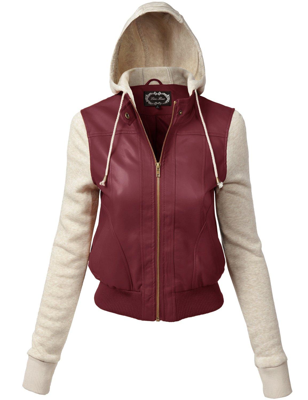 Luna Flower Women's Faux Leather Zip-Up Hooded Jacket with Long Sleeve Fleece Burgundy Large (GJAW155)