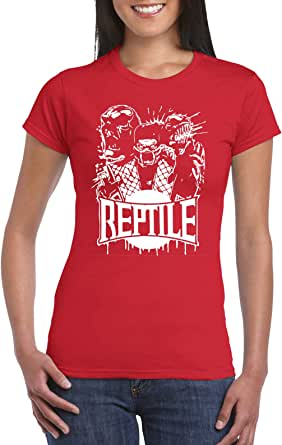 Red Female Gildan Short Sleeve T-Shirt - Reptile from Mortal kombat design