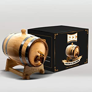 GRAND CANYON COLLECTION Whiskey Barrel Dispenser Home Whiskey Barrel For Display and Storage. Spirits, Beer, and Liquor (Black Rounds) - 2L
