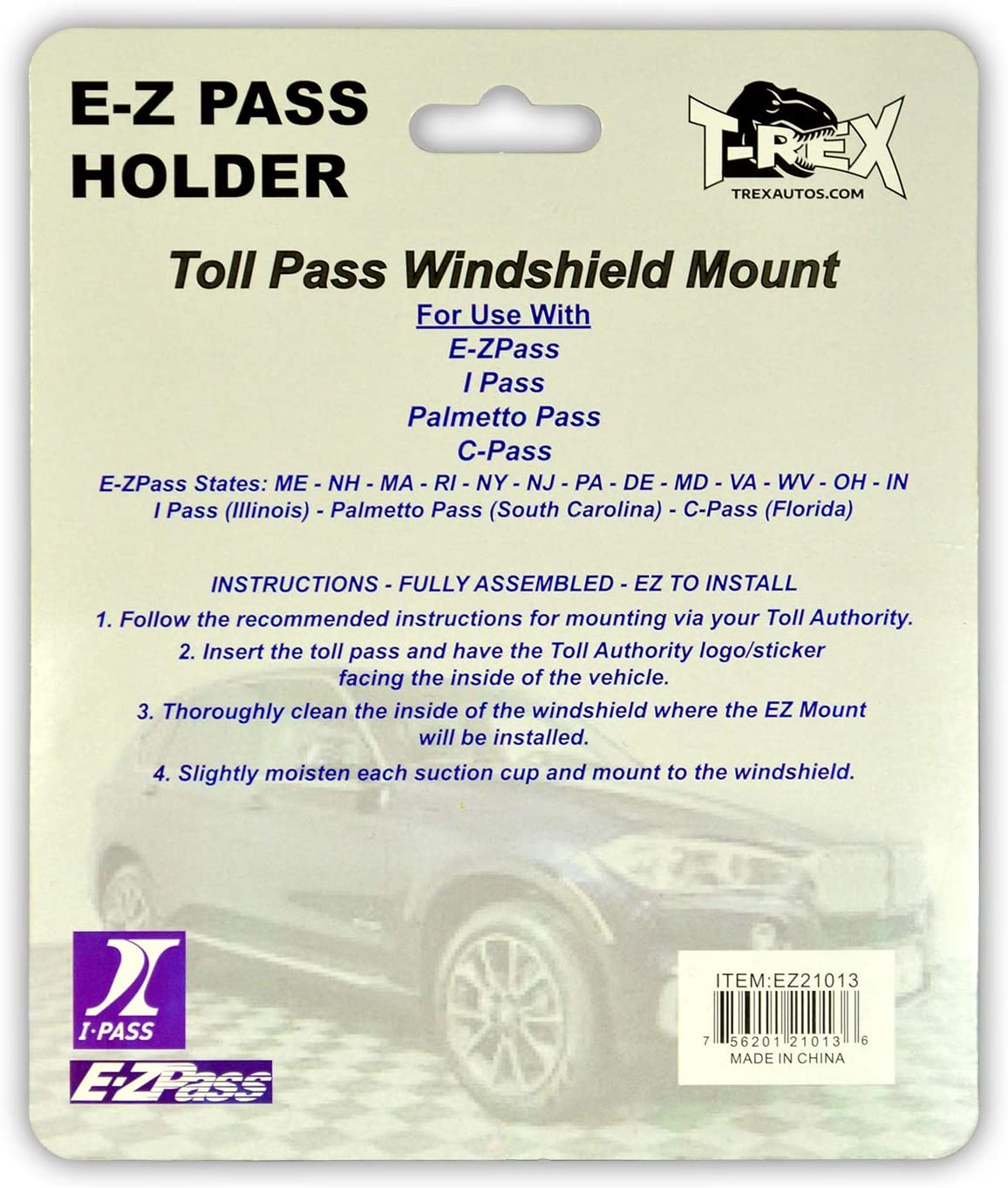 Black 3013100601 USCAN T-Rex EZ Pass Holder Easy to Install EZPass Tag Holder