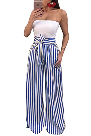 28be7c1f4ced Ermonn Womens Wide Leg Pants Casual Striped Waistband Long Palazzo Trousers  at Amazon Women s Clothing store