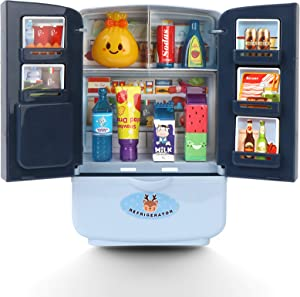 JX Kitchen Fridge Toys, Fridge Toy for Kids, Toy Refrigerator, Double Door Fridge Freezer with Ice Dispenser, Unique Toy Kitchen Playset Mini Home Appliances for Kids (Blue)