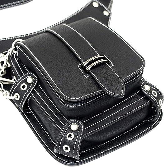 Gothic Steampunk Leather Shoulder Bag Crossbody Messenger Bag Club Rock Goth