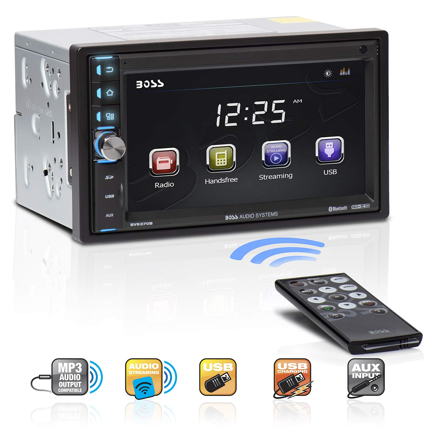 BOSS Audio Systems BV9370B Car Stereo - Double Din, Bluetooth Audio Hands-Free Calling, 6.5 Inch Touchscreen LCD Monitor, MP3 Player, USB Port, SD Card Slot, AUX Input, AM FM Radio Receiver, No CD DVD by BOSS Audio Systems