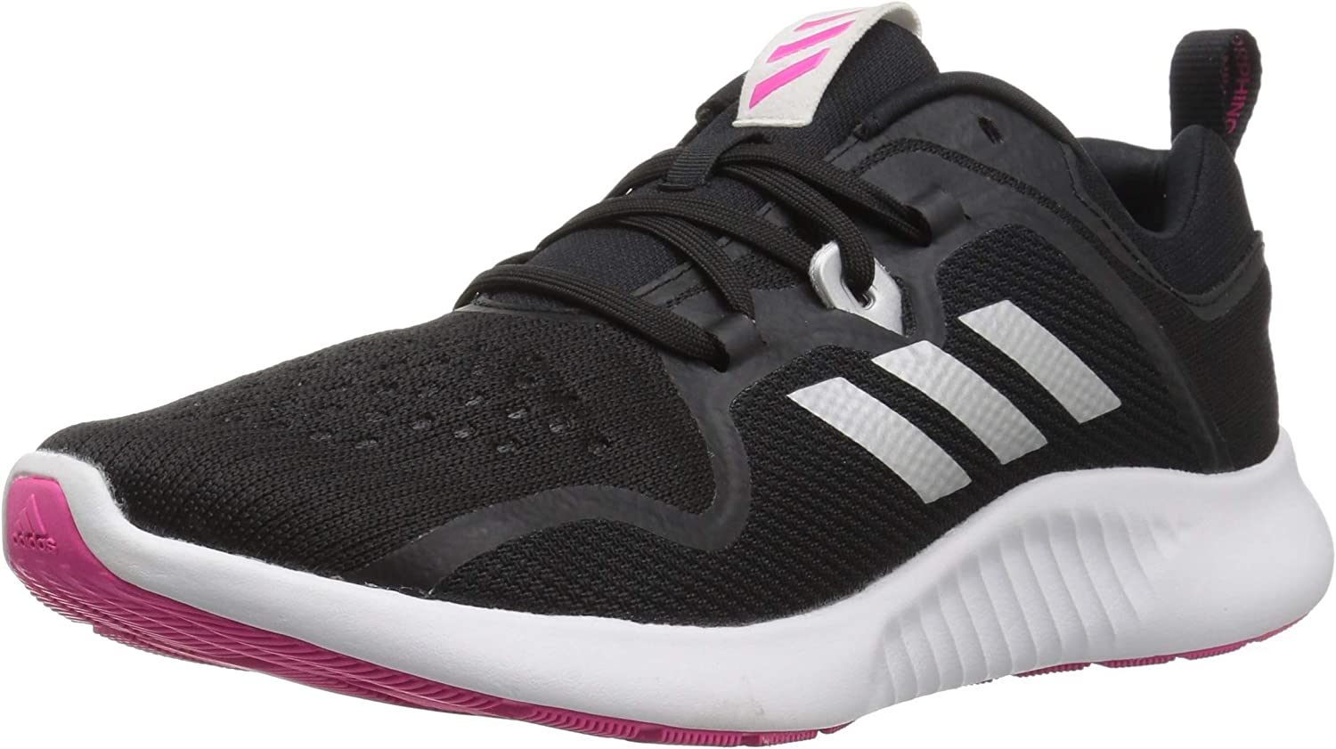 adidas Women s Edgebounce Mid Running Shoe, Black Silver Metallic Shock Pink, 7.5 M US