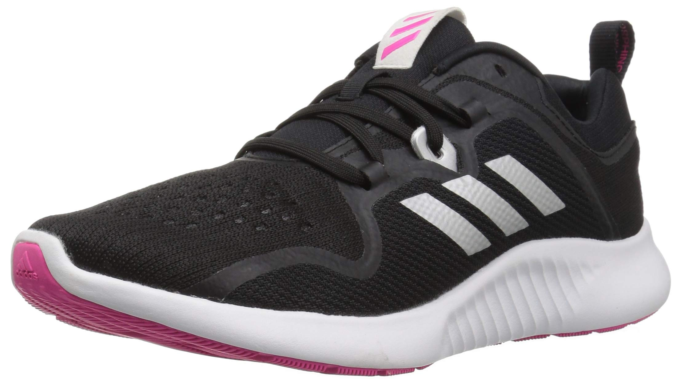 adidas Women's EdgeBounce Running Shoe Black/Silver Metallic/Shock Pink 5 M US by adidas (Image #1)