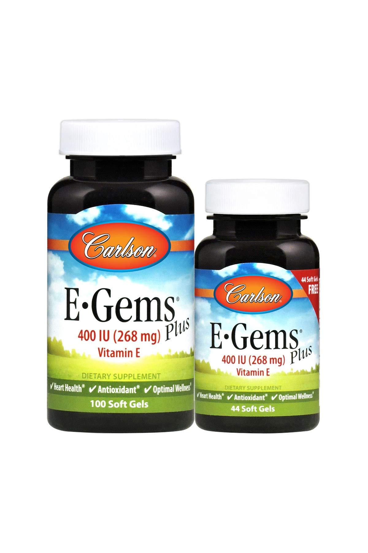Carlson - E-Gems Plus, 400 IU Vitamin E, Heart Health & Optimal Wellness, Antioxidant, 100+44 Soft gels