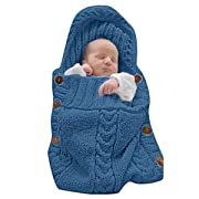XMWEALTHY Newborn Baby Wrap Swaddle Blanket Knit Sleeping Bag Sleep Sack Stroller Wrap for Baby(Dark blue) (0-6 Month)