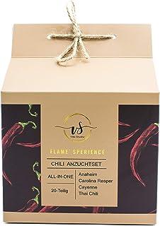 Chili Geschenkset/Anzuchtset - 20 Teiliges ALL IN ONE Anbauset für 4 verschiedene Sorten Chili/einzigartige Geschenkidee für Männer und Frauen/Premium Chilisamen