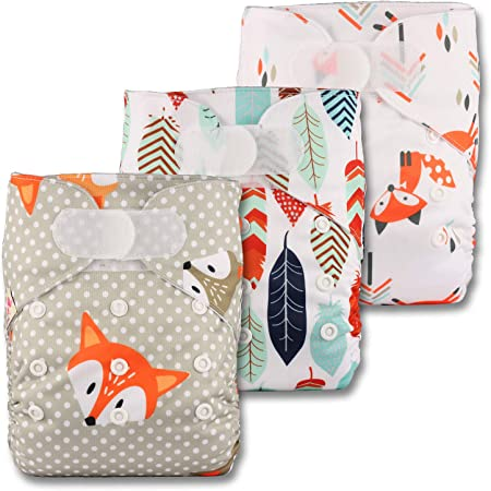 Patterns 316 with 3 Bamboo Charcoal Inserts Set of 3 Fastener: Hook-Loop Reusable Pocket Cloth Nappy Littles /& Bloomz