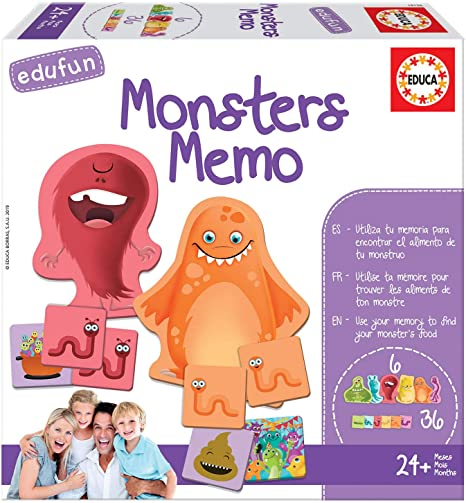 Educa Borrás Edufun Monsters Memo, Juego de Mesa para niños ...