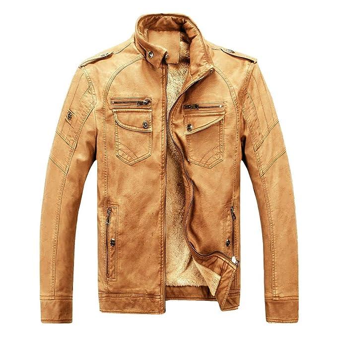 Yvelands Chaquetas para Hombre Invierno Oferta Tallas Grandes Piel Plus Velvet Washed Retro Abrigo de Cuero Outwear Top Blusa: Amazon.es: Ropa y accesorios