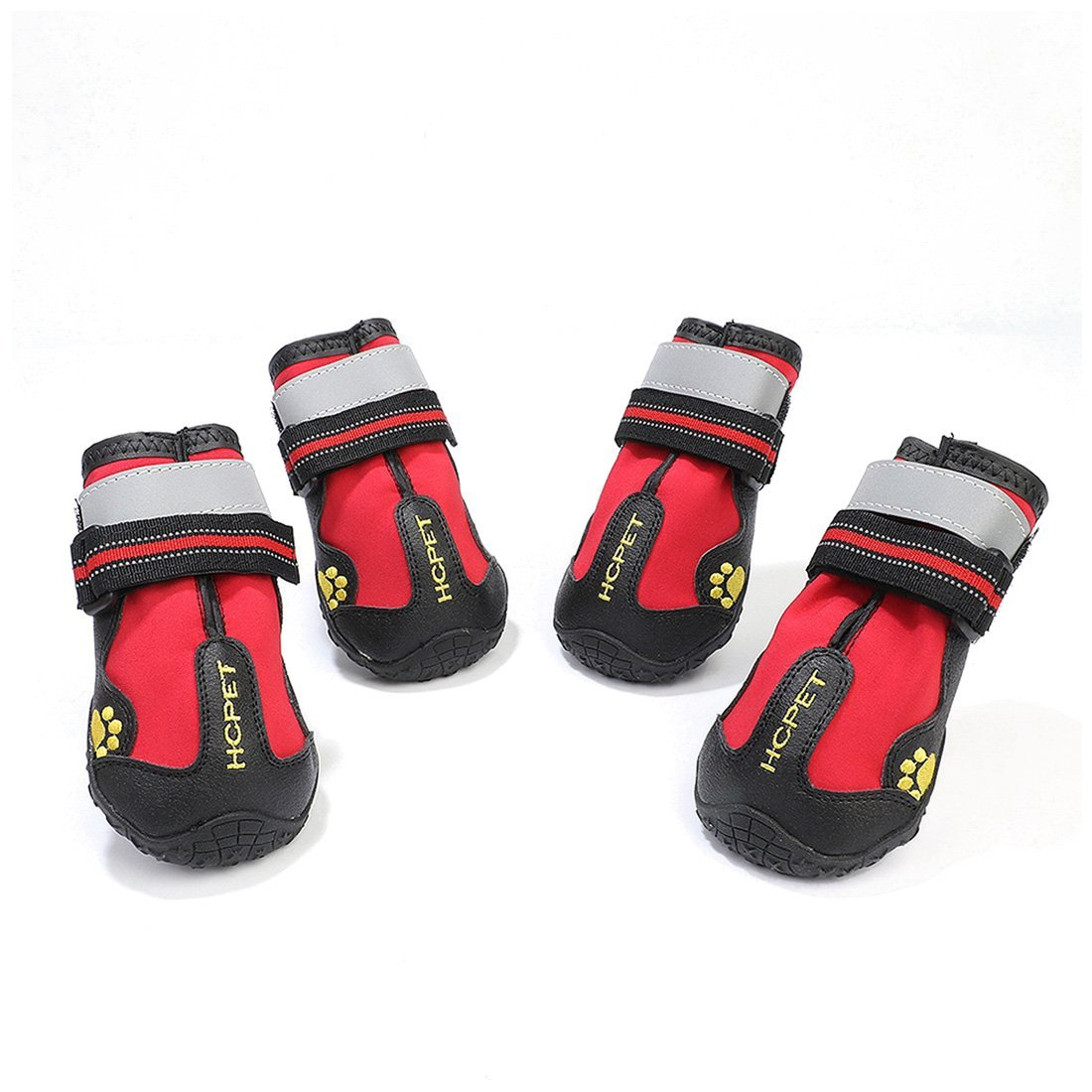 Red 6 Red 6 KTYX Pet shoes Dog shoes Waterproof Wearable Luminous Big Dog shoes pet Clothes (color   RED, Size   6)