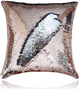 San Tungus 16 x 16 inch Sequin Reversible Mermaid Glitter Sofa Cushion Cover Sequin Pillows Cases,Rose Gold and Silver