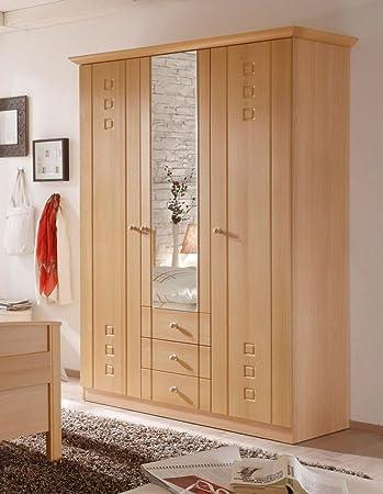 Amazon.de: Kleiderschrank 3-türig mit Spiegel Buche Dekor