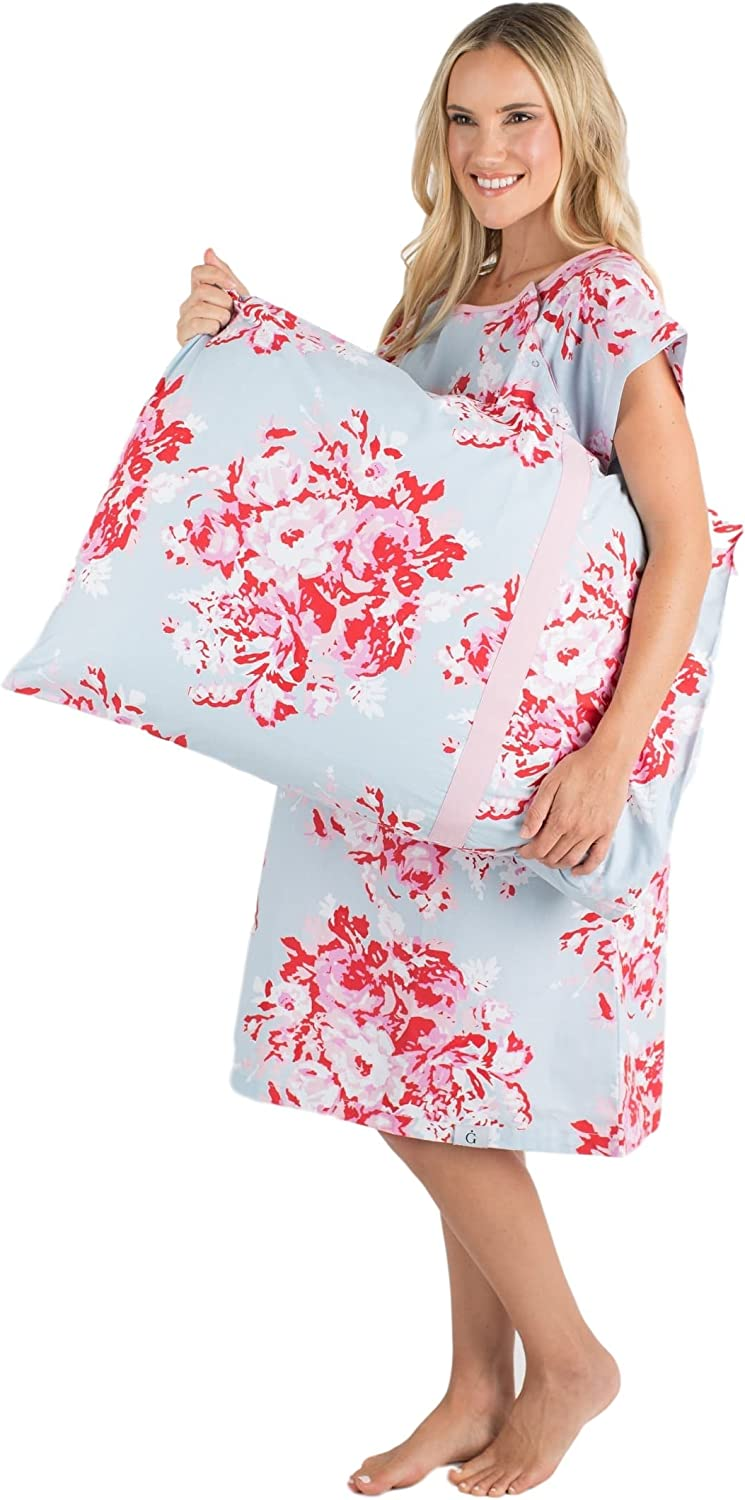 Amazon Com Gownies Labor And Delivery Maternity Hospital Gown And Pillowcase Set Hospital Bag Must Have Best Clothing