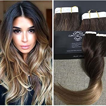 amazon com fshine 14 tape in hair extensions skin weft dip dye Blonde Ombre Extensions Roblox Blonde Extensions