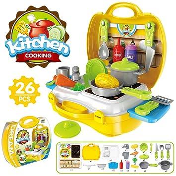 muy agradable vendido en todo el mundo última colección Buyger 26 Piezas Juguete de Cocina Juego de rol de Cocina Frutas Verduras  para Niños maletín