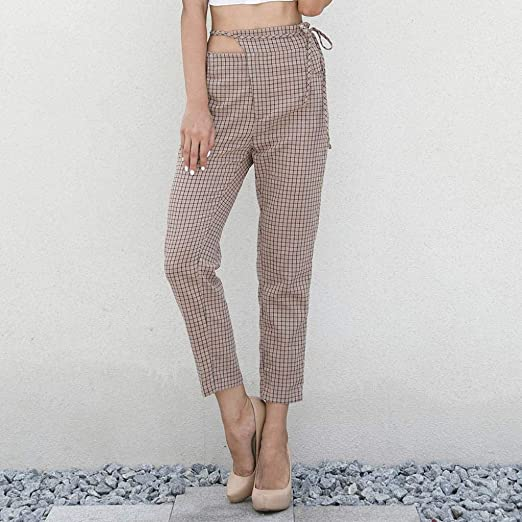 e3e7c1a8a76 Amazon.com  iTLOTL New Discount Women Plaid Cropped Trousers Trousers  Ladies Summer Loose Pants  Clothing