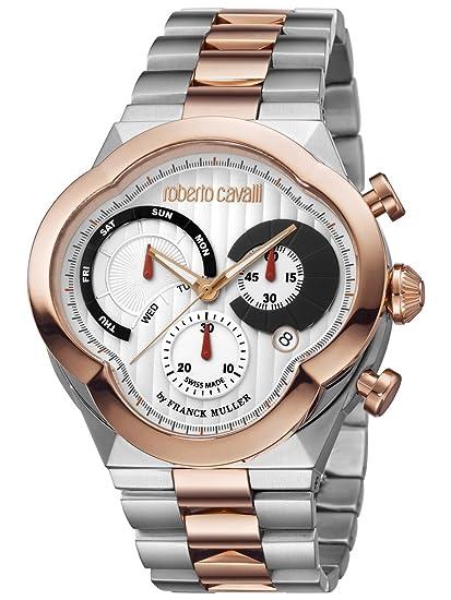3d8e7d34558b Roberto Cavalli por Frank Muller Clover para hombre 47 mm IP oro reloj  rv1g028 m0116  Amazon.es  Relojes