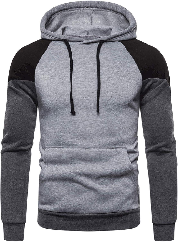 Rela Bota Mens Contrast Color Pullover Athletic Hoodies Multicolor Hooded Sweatshirt