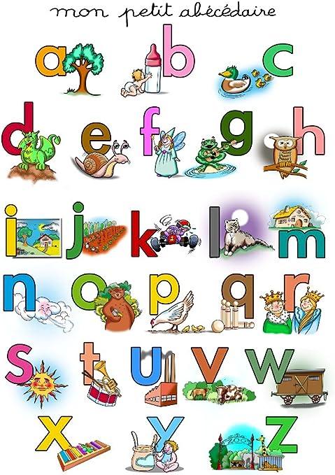 Editions Algofae Poster Alphabet Poster Educatif Pour Apprendre Les Lettres Amazon Fr Cuisine Maison