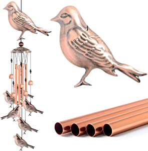 Grneric Retro Garden Ornament Décor Hummingbird Wind Chimes Copper Garden Outdoor,Waterproof Metal Decorative for Walkway,Yard,Lawn,Patio