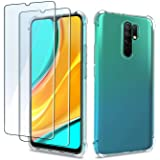QHOHQ Case for Xiaomi Redmi 9 with 2 Pack Screen Protector, Transparent Soft Silicone TPU Cover - Tempered Glass Film - [9H H