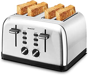 Toaster 4 Slice, Geek Chef Extra Wide Slot, Retro Stainless Steel Toaster with Dual panels, Bagel/Defrost/Cancel Function, Removal Crumb Tray, 6-Shade Settings, Auto Pop-Up
