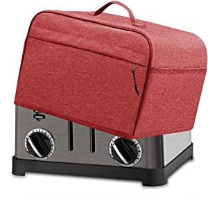 INMUA 4 Slice Toaster Cover with Pockets, Toaster Appliance Cover with Top handle, Dust and Fingerprint Protection, Machine Washable (Red)