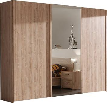 Armoire chambre porte coulissante avec miroir bois design: Amazon.fr ...