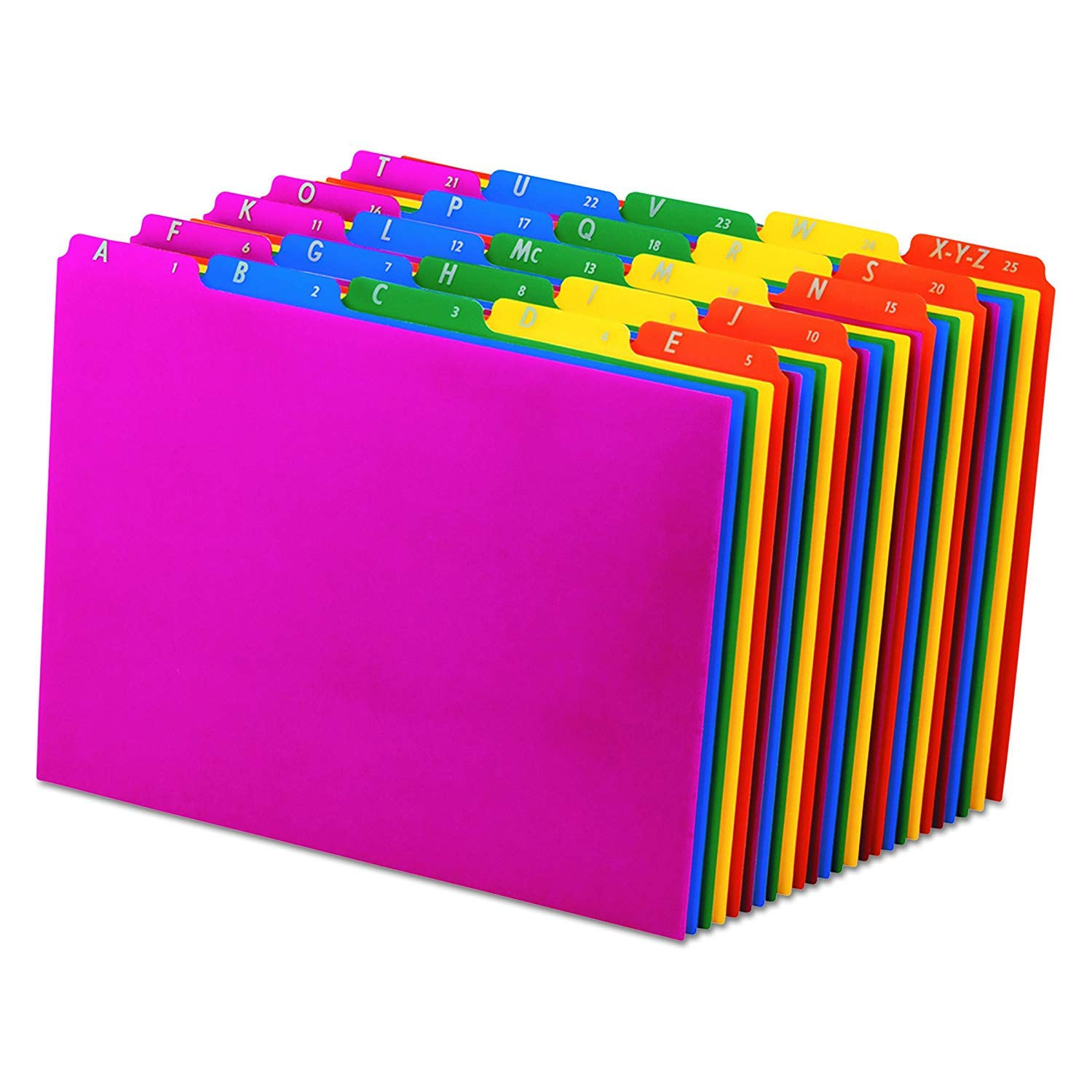 Pendaflex 40142 Top Tab File Guides, Alpha/A-Z 1/5 Tab, Polypropylene, Letter (Set of 25) (2 Pack, Blue;green;magenta;strawberry;yellow)