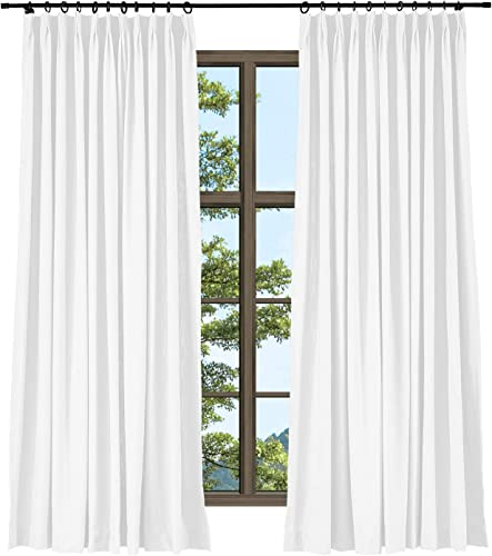 TWOPAGES Heavyweight Wide Width Privacy Pinch Pleated Drape Paper White Linen Cotton Natural Curtain for Door Window 1 Panel, 120 x 96 Inches