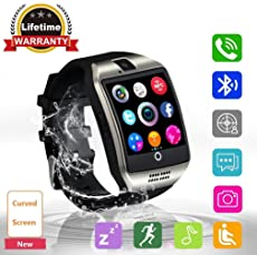 Bluetooth Smart Watch Smartwatch con ranura para tarjeta SIM \ Cámara \ de visualización táctil teléfonos, impermeable reloj de pulsera deportes, fitness tracker, compatible con iPhone, Android para niños hombre mujer, Plateado