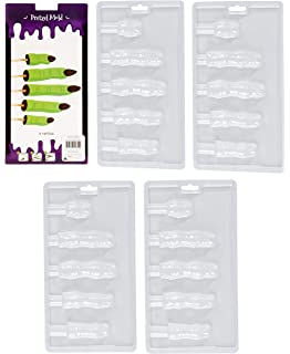 Halloween Chocolate Candy Molds - 4-Pack Zombie Finger Molds for Halloween Parties, Holiday