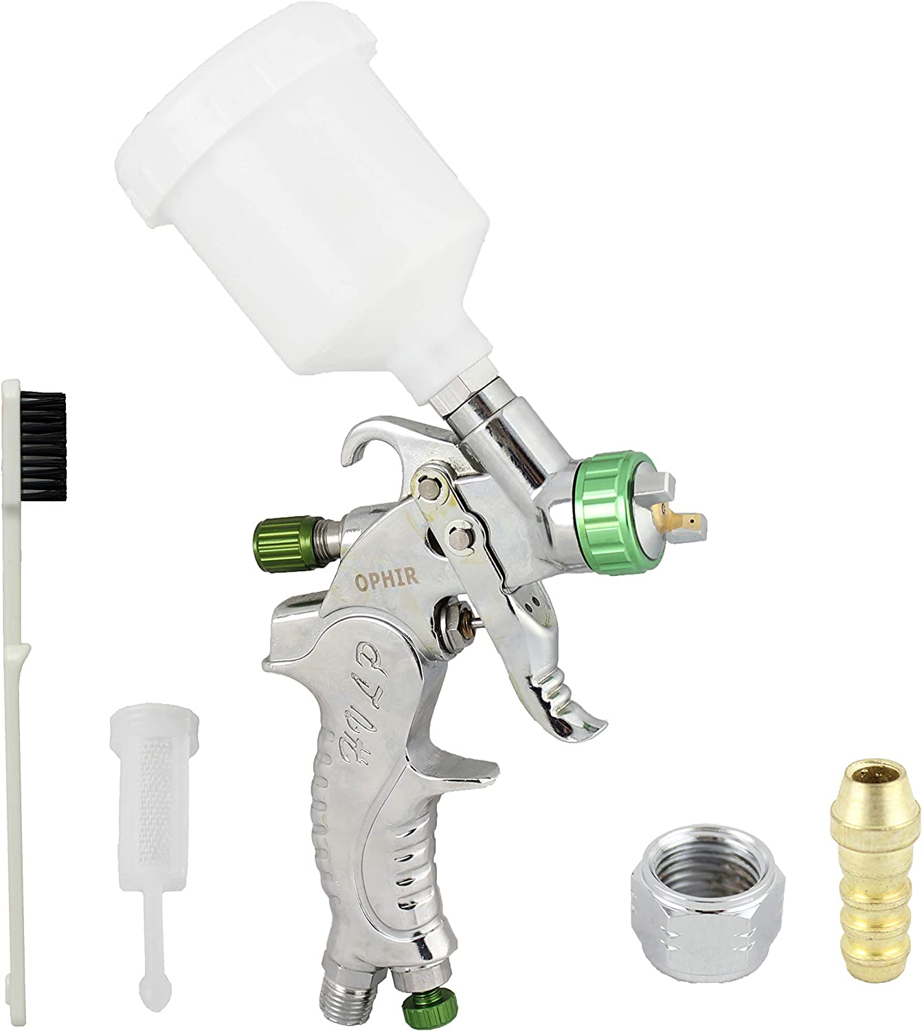OPHIR Mini Detail Touch Up HVLP Spray Gun 1.0mm Tip Basecoat Auto Paint Sprayer with Plastic Cup