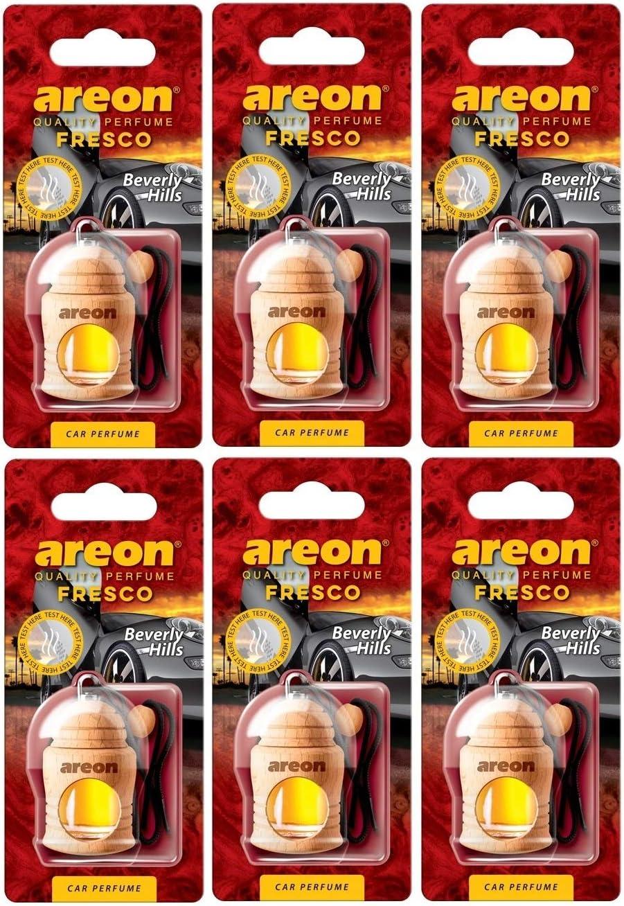 Areon Fresco Auto Duft Beverly Hills Hängend Glas Duftflakon Flakon Holz Set Anhänger Spiegel Schwarz 4ml Pack X 6 Auto
