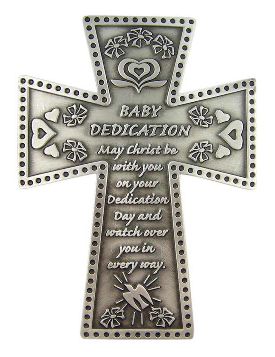 Fine Pewter Baby Dedication Religious Wall Cross 5 1//4 Inch Singer Co