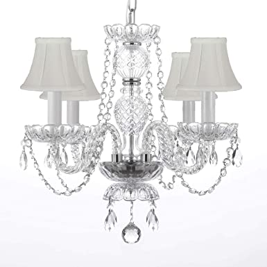 MURANO VENETIAN STYLE ALL CRYSTAL CHANDELIER W SHADES