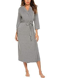 72a8a7288c MAXMODA Women Kimono Robes Cotton Lightweight Long Robe Knit Bathrobe Soft  Sleepwear V-Neck Ladies