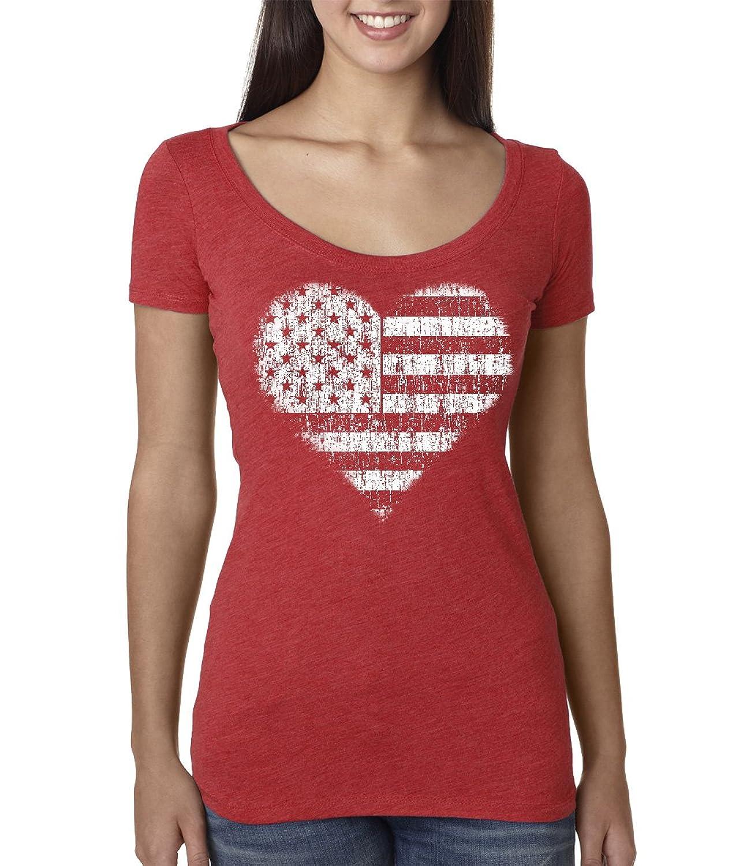 US Flag Heart Vicko Women's Premium Tri-Blend Scoop Neck Tee.