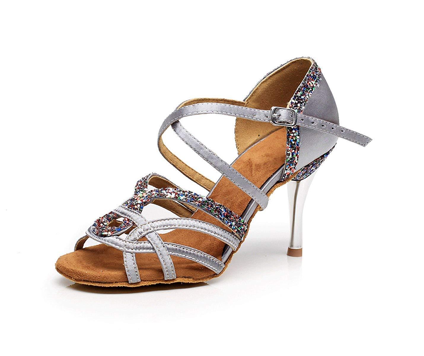 Tanzschuhe Frauen Für Latin Ballsaal Salsa Floral Satin Tango Chacha Samba Modern Jazz Schuhe Sandalen High Heels Silber-Absatz7.5cm-UK4   EU35   Our36