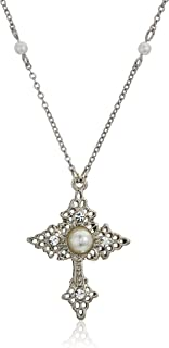 product image for 1928 jewelry silver tone filigree religious cross with simulated pearl and crystal accent pendant necklace